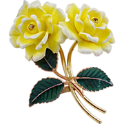 SALE GES Gesch Yellow Celluloid Double Rose Brooch
