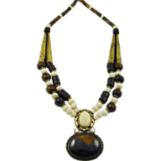 SALE Chocolate and Cream African Horn Necklace