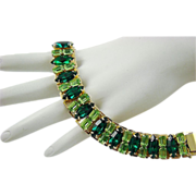 SALE Breathtaking Coro Pegasus Emerald and Peridot Rhinestone Bookchain Bracelet