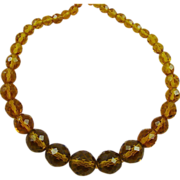 SALE Multi-Faceted Amber Colored Glass Bead Necklace