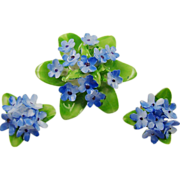 SALE Adderley Floral China Blue Forget-Me-Not Demi Parure
