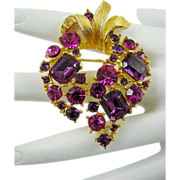 SALE Fuchsia and Amethyst Rhinestone Brooch by M. Jent
