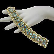 SALE Coro Blue Aurora Borealis Rhinestone Bracelet