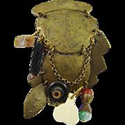 SALE Very Large Marjorie Baer Hammered Brass Charm Brooch