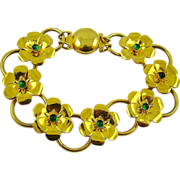SALE Bright Gold Tone Art Deco Flower Bracelet with Emerald Green Cabochons
