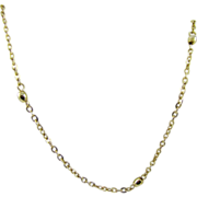 SALE Delicate Emmons Gold Tone Chain and Bead Necklace