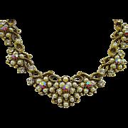 SALE Elegant Florenza Imitation Pearl and Red Aurora Borealis Rhinestone Bib Necklace