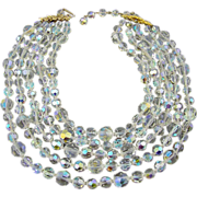 SALE Brilliant Sparkling Castlecliff Aurora Borealis Crystal 5-Strand Necklace