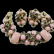 SALE Glamourous Juliana Pink Milk Glass and Smoke Rhinestone Demi Parure