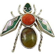 SALE Sterling Wasp Brooch/Pendant with Coral, Turquoise, Abalone and Nephrite Jade