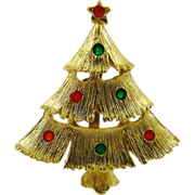 SALE Enameled Lights on Gold Tone Christmas Tree Brooch
