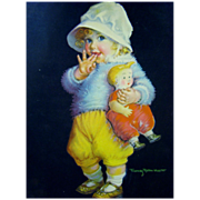 Wonderful Calendar Print by Frances Tipton Hunter ~ Toddler with Doll