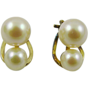 SALE Double Imitation Pearl Clip Earrings