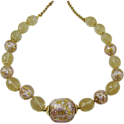 SALE Pink and Gold Tone Foiled Bead Necklace