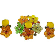 SALE Stunning Molded Glass Fruit Salad Brooch and Earrings