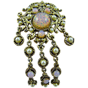 SALE Hollycraft Fiery Foiled Faux Opal and Imitation Pearl Brooch/Pendant