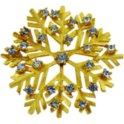 SALE Dodds Blue Rhinestone Snowflake Brooch