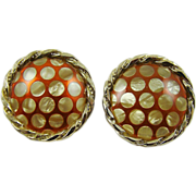 SALE Sienna Red Enamel with Mother of Pearl Polka Dot Earrings