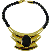 SALE Alexis Kirk Modernist Black Bead & Gold Tone Necklace