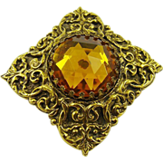 SALE Victorian Style Amber Colored Glass Brooch by Mr WE