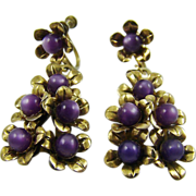 SALE 1940s Purple Moonglow Bead Drop Earrings