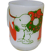SALE Hard-To-Find Fire King Snoopy Noel Mug ~ 1958