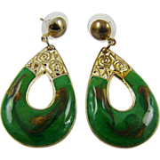 SALE Emerald Green and Glitter Gold Tone Swirl Enamel Teardrop Earrings