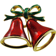 SALE Enameled Christmas Bells Brooch by SFJ
