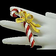 SALE Pretty Christmas Candy Cane Brooch by Mylu
