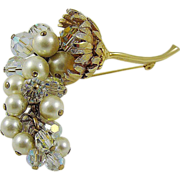 SALE Stunning Cascading Grape Cluster Brooch ~ Imitation Pearls ~ Crystals