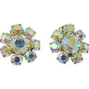 SALE Aurora Borealis Rhinestone Cluster Earrings
