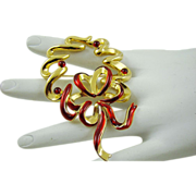 SALE Krementz Gold Tone and Red Ribbon Wreath Brooch