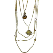 SALE Stunning Victorian Revival Style Goldette Multi-Chain Necklace ~ Ornate ~ Exotic
