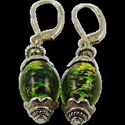SALE Mixed Green Art Glass Earrings