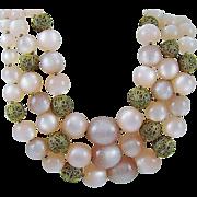 "SALE Pink Moonglow Bead ""Mad Men"" Necklace"