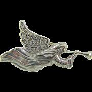 SALE Sterling Jezlaine Trumpeting Angel Rhinestone Brooch