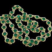 SALE Swarovski Emerald Green Crystal Bezel Set Necklace