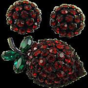 SALE Warner Strawberry Brooch and Earrings