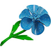 SALE Blue Polka Dot Enamel Flower Brooch