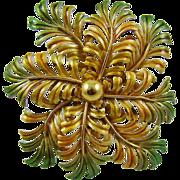 SALE Large Gold Tone and Green Enamel Fern Brooch