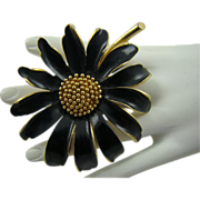 SALE Large Marvella Black Enamel and Gold Tone Flower Brooch