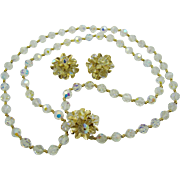 SALE Vendome Stunning Evening Demi Parure Crystal and Gold Tone