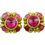 SALE Bright Pink Rivoli and Bead Runway Earrings