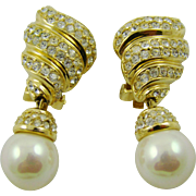 SALE Grosse' Imitation Pearl and Gold Plated Rhinestone Evening Earrings