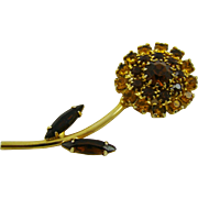 SALE Honey Amber and Topaz Rhinestone Flower Brooch