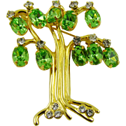 SALE KJL (Kenneth Jay Lane) Tree of Life Brooch ~ Peridot Glass