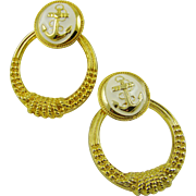 SALE 80s Ladies Polished Gold Tone Hoop Nautical Earrings ~ Cream Enamel