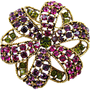 SALE Graziano Swirled Ribbon Multi-Colored Rhinestone Brooch