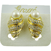 SALE Grosse' Imitation Pearl and Gold Plated Rhinestone Evening Earrings on Original Card