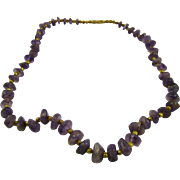SALE Graduated Amethyst Chunks Necklace with Brass